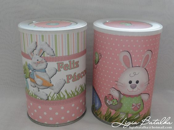 Latas Decoradas de Páscoa by Ligia Batalha, via Flickr