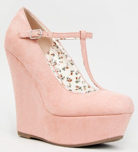 Breckelle&39s CILO-15 Mary Jane T-Strap Platform Wedge Heel Pump