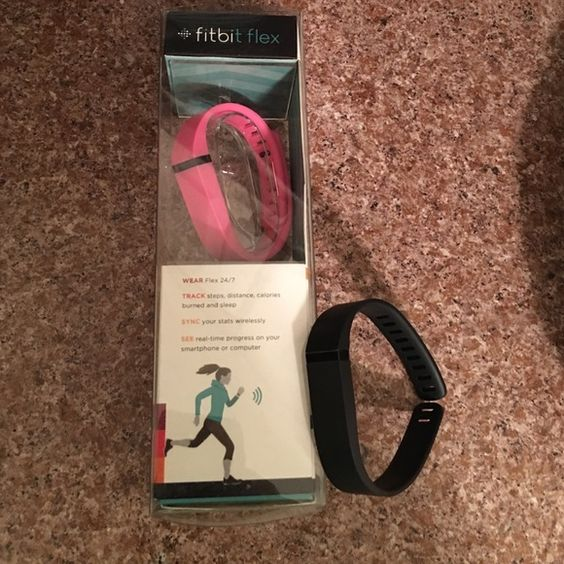 Fitbit Flex  Fitbit flex  new in box, never used. Tracker, charging cable, USB dongle and two large bands (pink and black) are included. Purchased two, one for myself another for my husband. He decided he did not want his. Opened this box to take small pink band out only. Large bands will fit small and medium size wrists. Sorry I do not trade. Fitbit Other