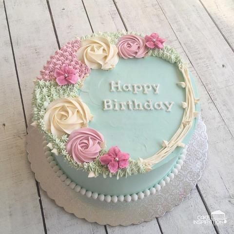 Rosette Cream Art Collection Design 09 Flowers Wreath Pastel Blue Pearl Necklace Cakeinspiration Birthday Cake Decorating Flower Cake Cake Decorating