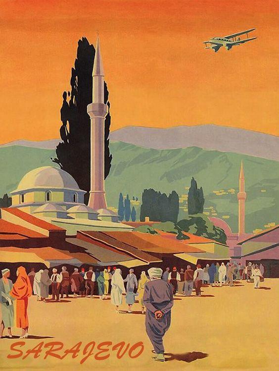 Sarajevo Vintage Airline Posters Poster Art Travel Posters