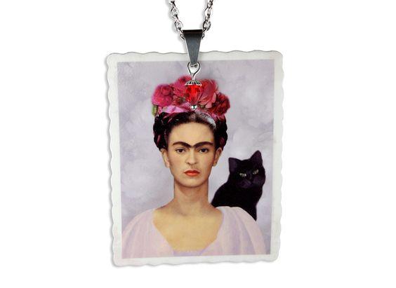 Acryl Kette Frida Kahlo vintage Illustration von Dear Prudence auf DaWanda.com