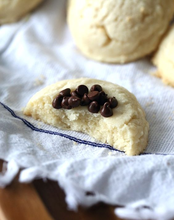 Whipped Shortbread topped with mini chocolate chips!!