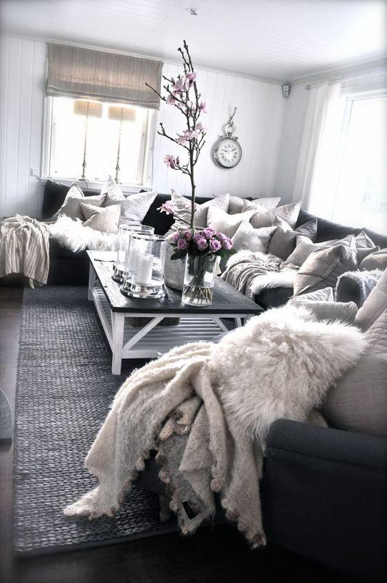 Cozy warm den. Cozy room. Cozy room idea. Den idea. Living room idea. #den #cozyden #cozy. Gray and cream