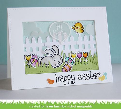 Lawn Fawn Happy Easter Card by Nichol Magouirk.