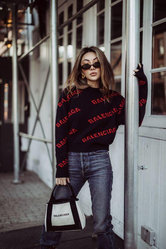 Must-Have Brands to Rock the Logomania Trend - Balenciaga Logo Sweater, Balenciaga Tote, Dakar Boots // Notjessfashion.com | #Logomania-Trend-2019 | #streetstyle | #fashionblogger | #jessica-wang-fashion |