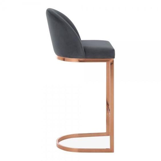 Luxe Velvet Copper / Brass Leg Bar Stool 75cm – Pebble & Leaf Home