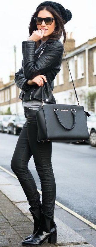 #fall #fashion / leather + leather:
