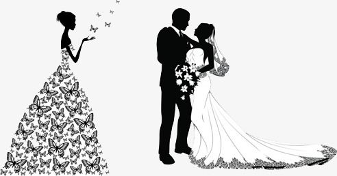 من ناحية رسم العروس و العريس العروس اسود و ابيض مرسومة باليد Png وملف Psd للتحميل مجانا Brown Aesthetic Bride Groom