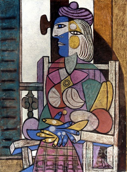PICASSO: WOMAN, 1937. Pablo Picasso: Woman Seated Before a Window. Oil, pastel on canvas, 1937.: