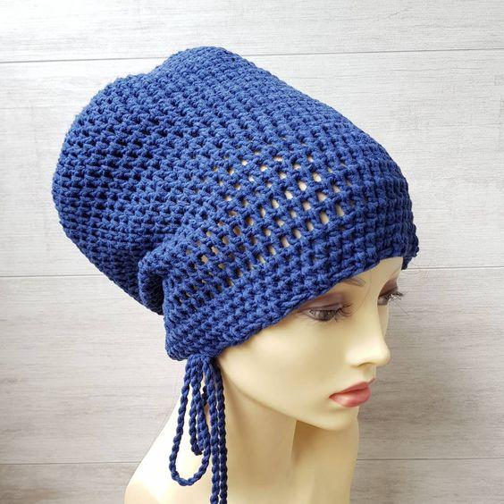 Navy Blue Crochet Large Tam With Drawstring Dreadlocks Hats By Albadofashion Knitted Slouch Hat Crochet Crochet Beret