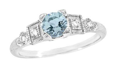 Aquamarine and Diamond Art Deco Engagement Ring in 18 Karat White Gold $950.00 http://www.antiquejewelrymall.com/aqanddiamart.html