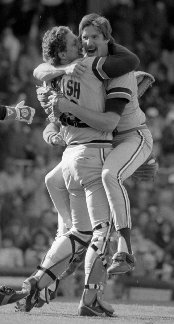 Lance Parrish congratulates his no-hit pitcher, Jack Morris, with a bear hug on April 7, 1984. Mary Schroeder | Detroit Free Press | https://www.etsy.com/shop/OurCufflinkShop