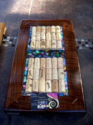 Black walnut wine cork trivet, alcohol ink tiles