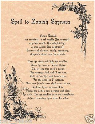 Spell to Banish Shyness Page for Book of Shadows BOS Pages Wicca Parchment: