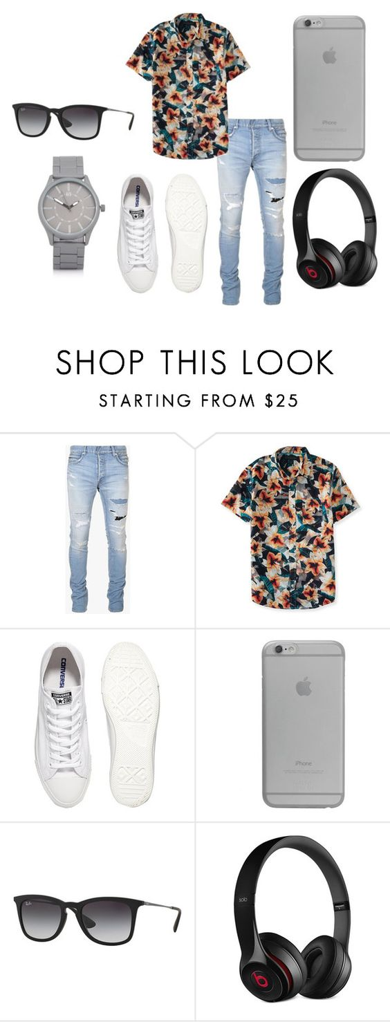 """Sin título #2958"" by maneirojosemith ❤ liked on Polyvore featuring Balmain, Aéropostale, Converse, Native Union, Ray-Ban, Beats by Dr. Dre, River Island, men's fashion and menswear"