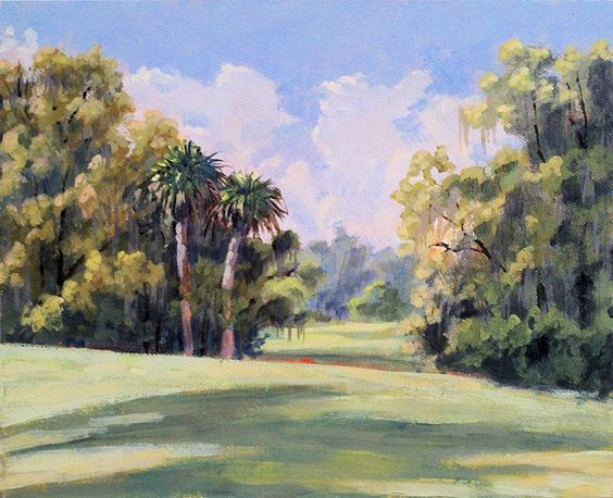 Holy Ground Field- SOLD  8x10 inches  One of the prettiest fields at Fair Oaks. There are Fairie Circles in this field. When no one is there they come out to play.   http://lindablondheim.com/section/281527_Artists_in_Residence_Project_Paintings.html