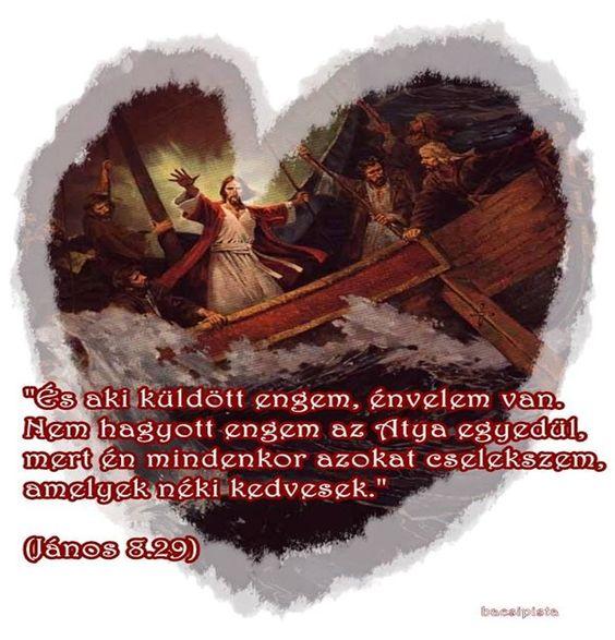 """""""És aki küldött engem, én velem van. Nem hagyott engem az Atya egyedül, mert én mindenkor azokat cselekszem, a melyek néki kedvesek.""""  (János 8.29)"""