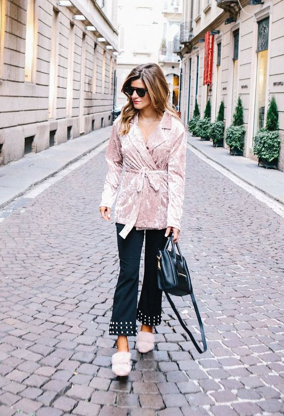 Velvet wrap jacket with pearl embellished pants and pink fur pumps