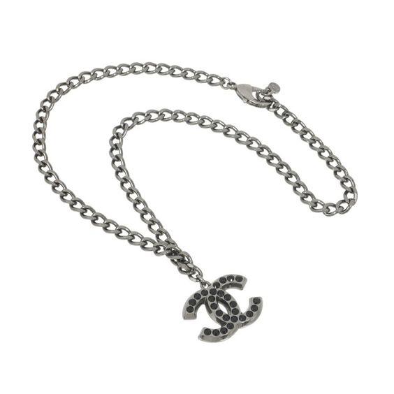 Vintage Chanel Silver Rhinestone CC Chain Necklace. Layaway Ok.