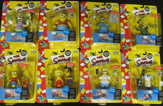 The Simpsons Action Figures Series 1 Complete Set. Playmates Lisa Burns Moe etc.