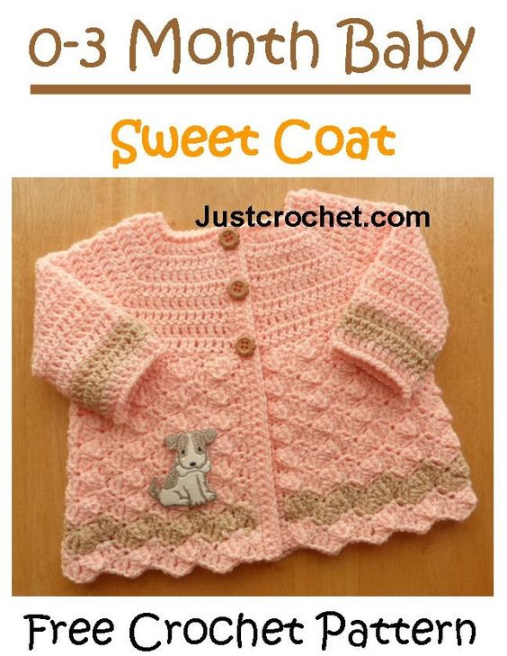 Pretty and sweet coat with link to matching hat http://www.justcrochet.com/cardigan-usa.html #justcrochet #crochet: