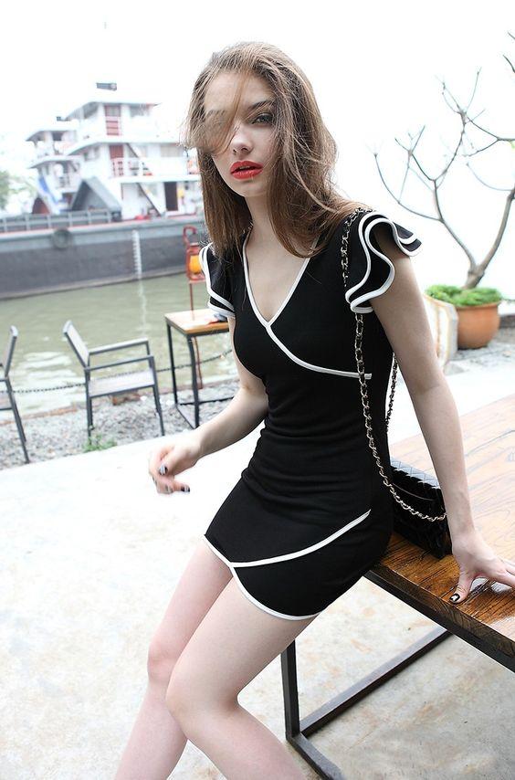 Morpheus Boutique  - Black Stripe V Neck Ruffle Wrap Clubwear Mini Dress