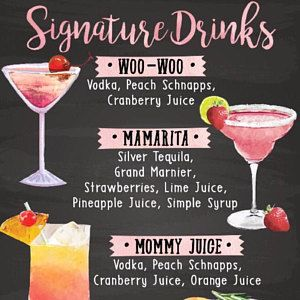 Digital Printable Wedding Menu, Watercolor Wedding Bar Menu, Chalkboard Wedding Cocktail Menu Sign, Signature Drinks Christmas New Year IDM2