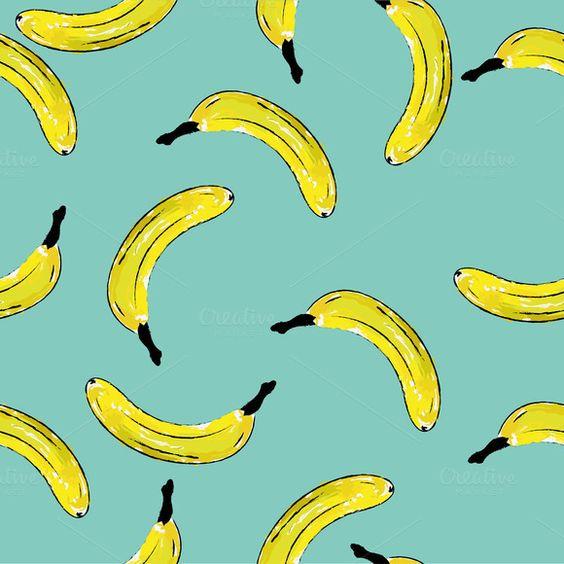 background with watercolor banana by moeimyazanyato on @creativework247
