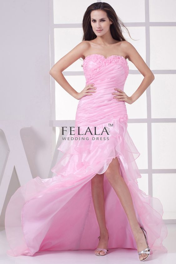 Candy Pink Long Organza Sweetheart Split Front Prom Dress