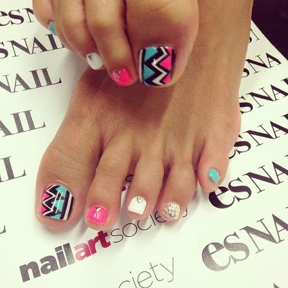 toenails! I would use a lighter shade of pink (or a different color all together than the neon pink) and the rest of the toes the same color, not multi
