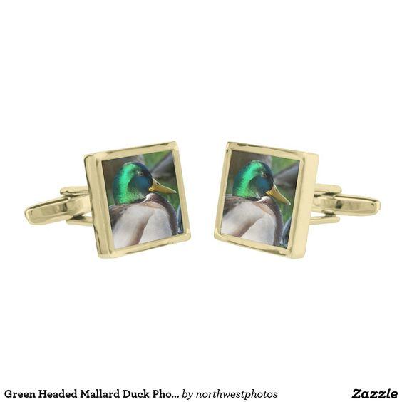 Green Headed Mallard Duck Photo Gold Finish Cufflinks