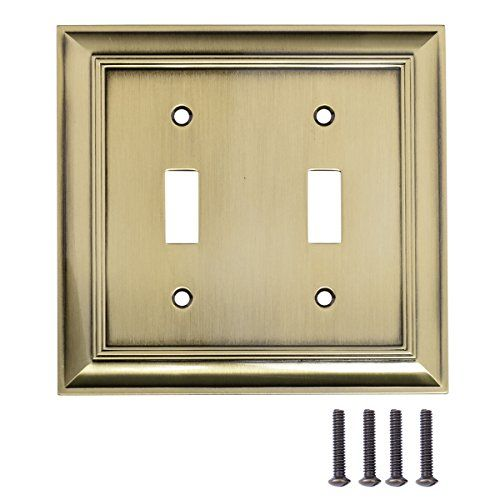 Amazonbasics Double Toggle Wall Plate Antique Brass 2 P Https