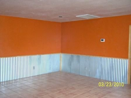 Using corrugated tin for ceiling ugly corrugated metal for Metal wainscoting ideas