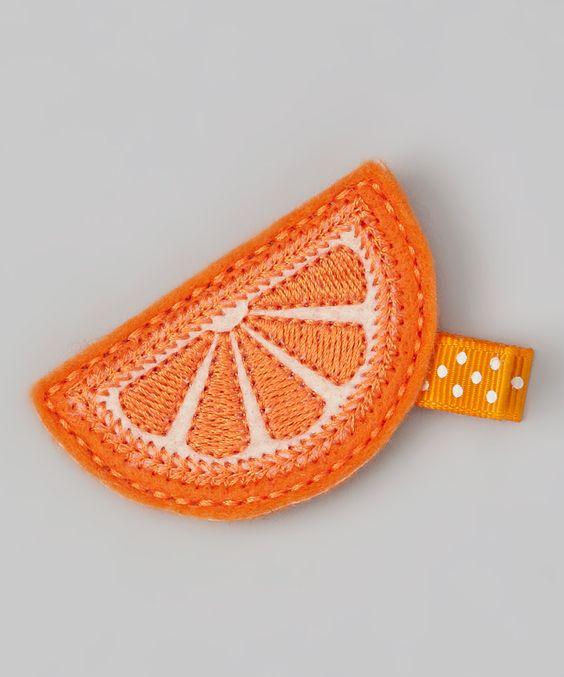 Orange Slice Felt Clip
