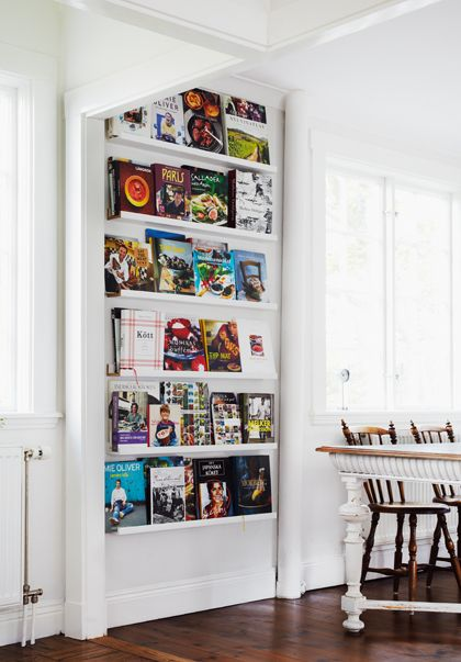 Love the idea of Ikea Ribba ledges for cookbooks. I think this is a DIY for under the mirror. Gonna paint them green!