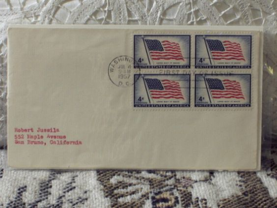 http://ajunkeeshoppe.blogspot.com/  First Day Issue/Cover-Stamp-Flag Long May it Wave 1957 4c 8ozP724B4HP1153