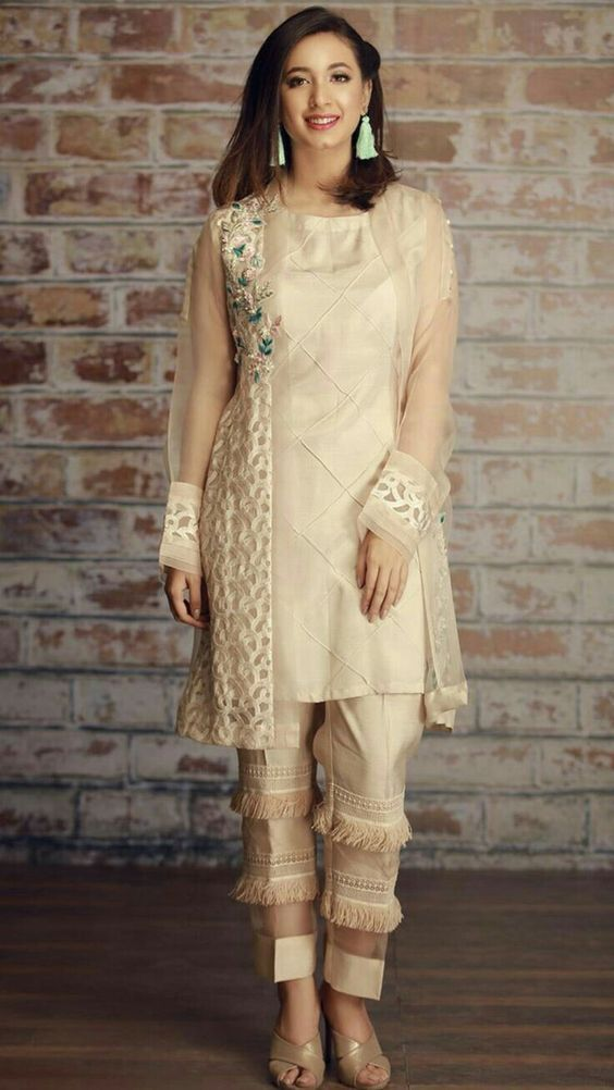 Latest Pakistani Boutique Style Dresses Beige Fancy Shirt in