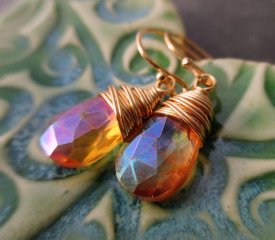 Mystic Orange Quartz Earrings Wire Wrapped от beachflowerdesigns