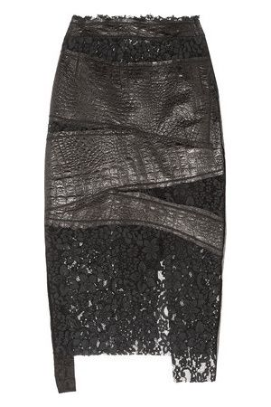 Women Leather Skirts - Croc-effect Leather And Corded Lace Skirt