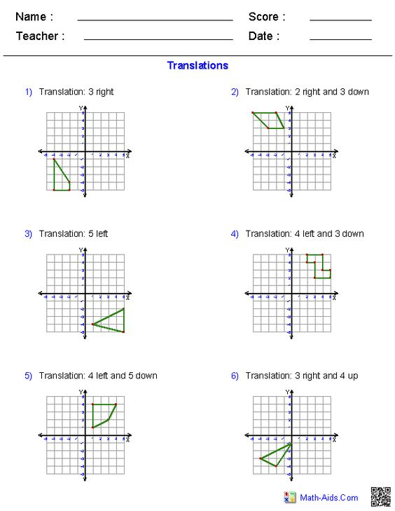 Translations Worksheets