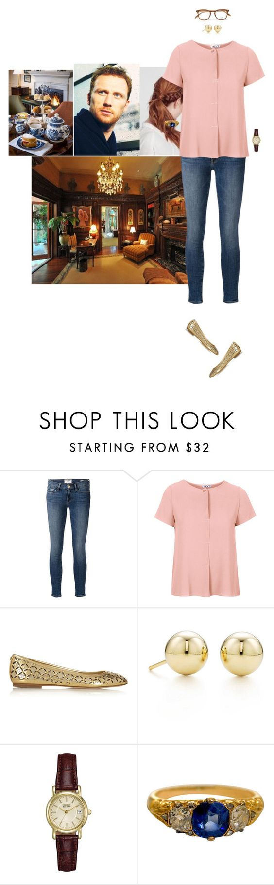 """""""Having afternoon tea with her father at his study and being informed of her investiture into the Order of the Thistle"""" by hrhprincessamelia ❤ liked on Polyvore featuring Frame Denim, WalG, MICHAEL Michael Kors, Tiffany & Co., Citizen, Garrett Leight, women's clothing, women's fashion, women and female"""