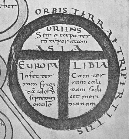 T-O map, from 11th century MS. edition of Beatus' Commentary