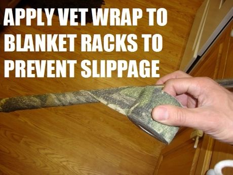 We used to use this one for displaying western reins at the tack store, too. Works like a charm!   Apply vet wrap to blanket racks to prevent the blankets from slipping off the bars  From HorseNation - 10 Barn LifeHacks You Need Right Now