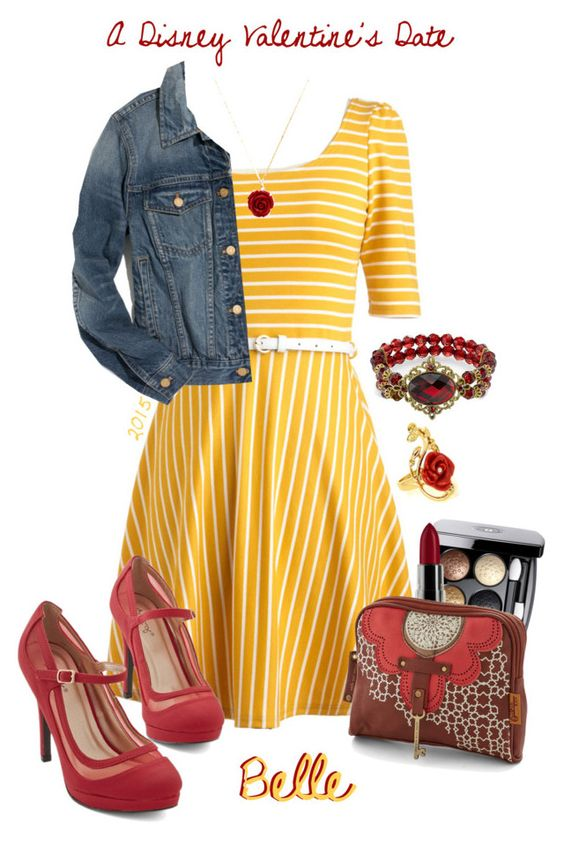 A Disney Valentine's Date ~ Belle ~ 2015 by snowj on Polyvore featuring polyvore fashion style Madewell 1928 Disney Couture Retrò Chanel NYX Disaster Designs clothing