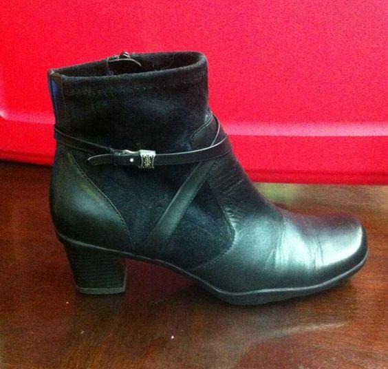 Ladies Black Leather Viva Bare Traps Dress Heels Boots size 7 M ...