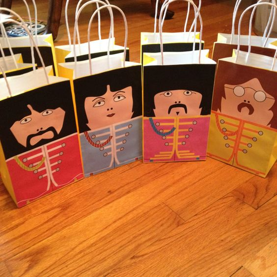 Do-it-yourself Beatles party bags.   good idea, but I'd find better pictures...