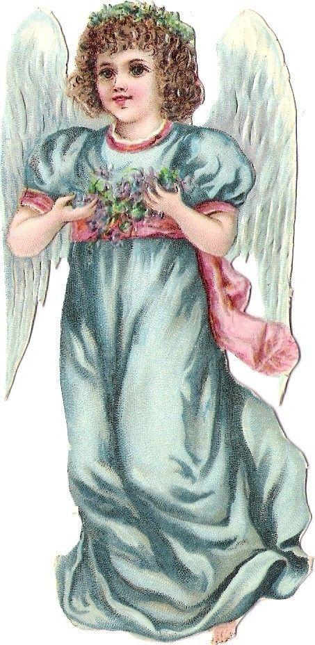 Oblaten Glanzbild scrap die cut chromo Engel  12cm angel cherub Blumen: