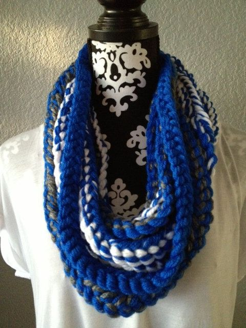 University of Kentucky Blue Grey and White Knit by KnotByChristine