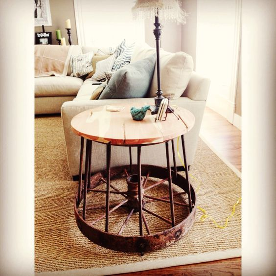 Diy side table made from antique wagon wheel made by for Diy wagon wheel